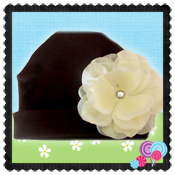 Brown Hat Ivory Peony