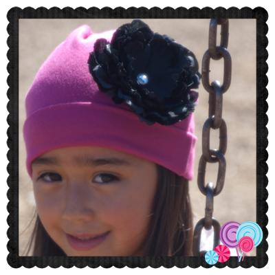 Fuschia Hat Black Flower
