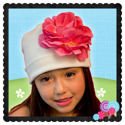 Ivory Hat Pink Flower