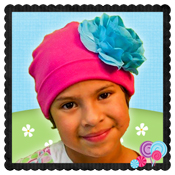 Pink hat w/Turq flower