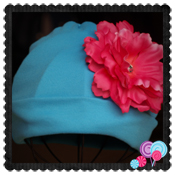 Blue Hat Pink Flower